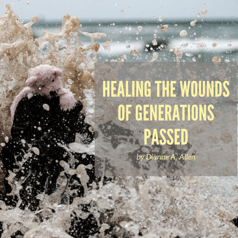 tattered teddie in the water with words: Healing the wounds of the generations passed.