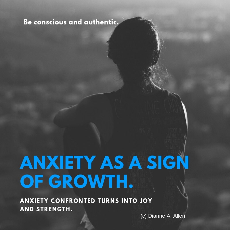 Lady stand looking out with words: Anxiety is a sign of growth